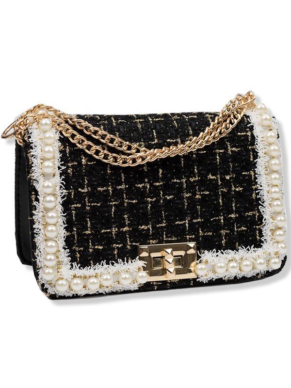 Černá elegantní kabelka s perlami