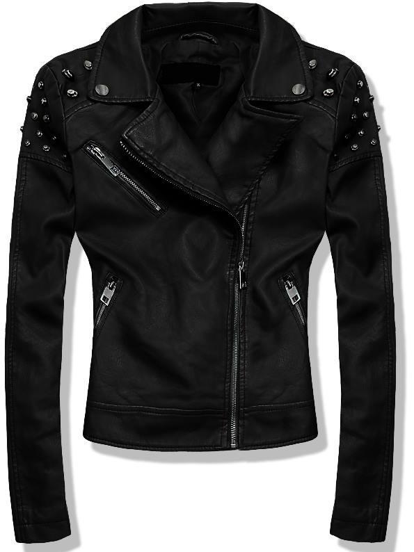 Černá koženková bunda 2372