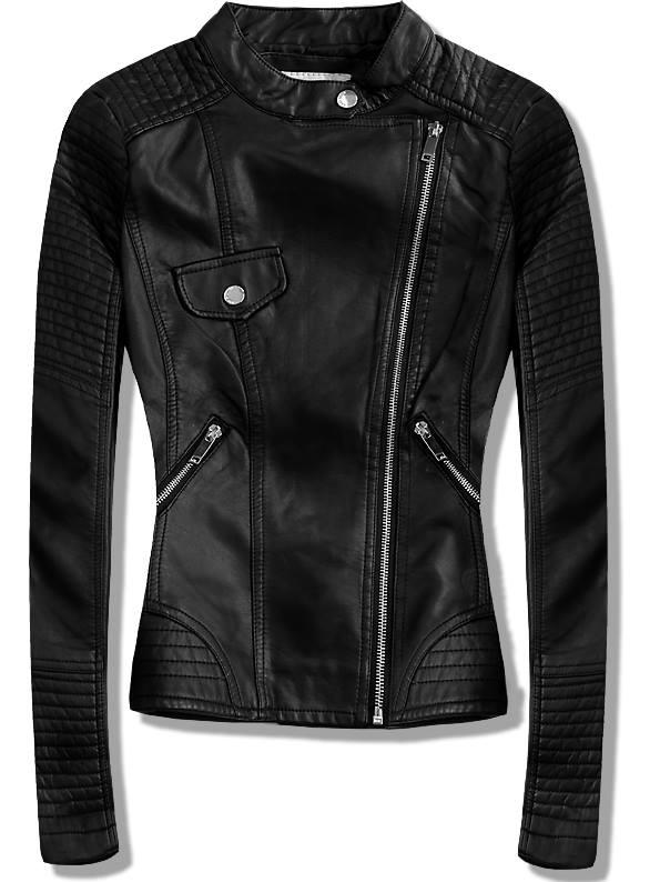 Černá koženková bunda 8827