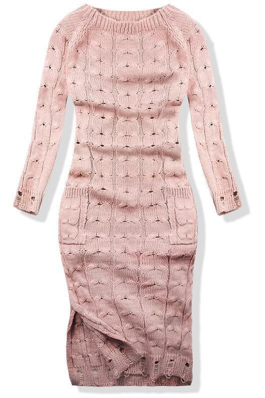 Růžové pletené šaty 7295