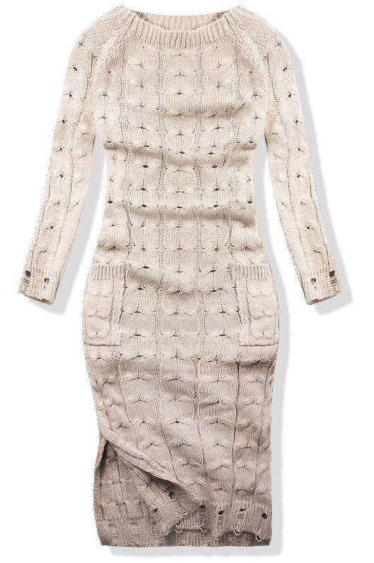 Béžové pletené šaty 7295