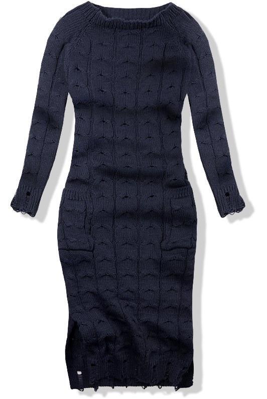 Tmavě modré pletené šaty 7295