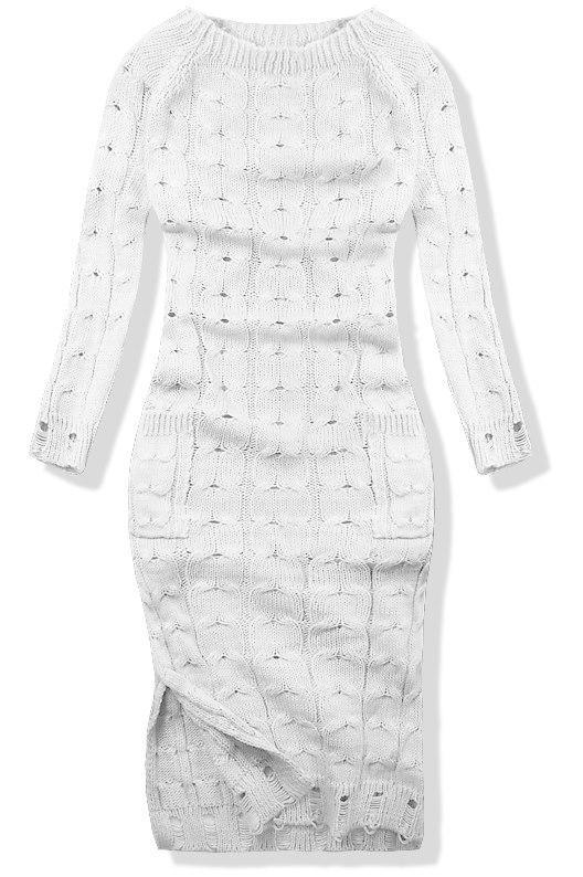 Bílé pletené šaty 7295