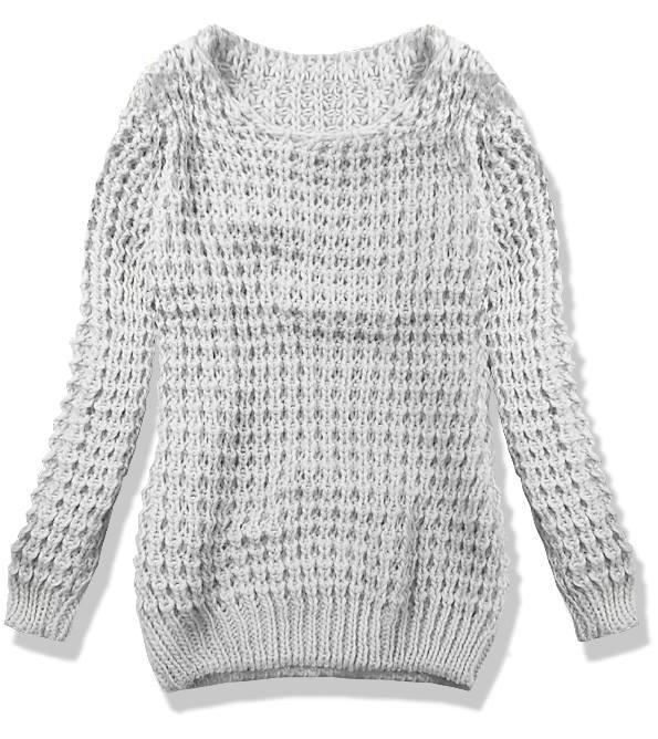 Světle šedý pletený svetr LANA