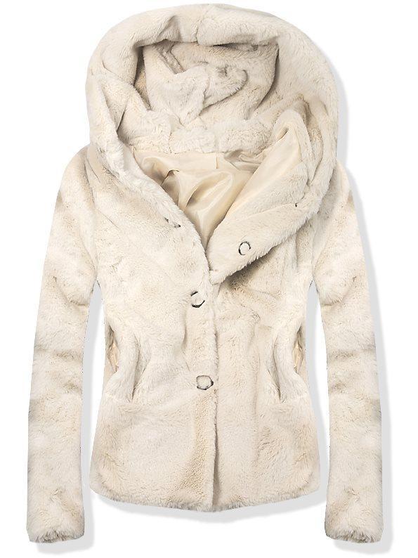 Béžový krátký kožešinový kabát 60688