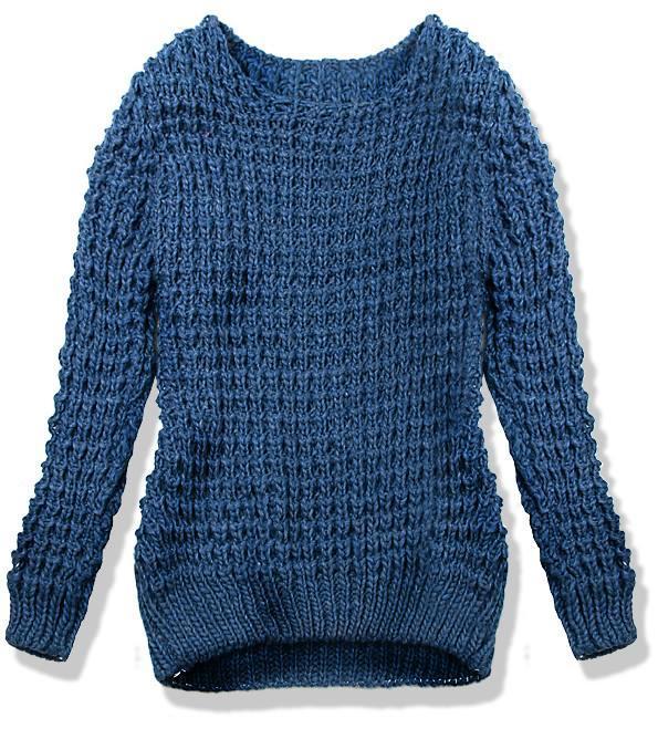 Kobaltově modrý pletený svetr LANA
