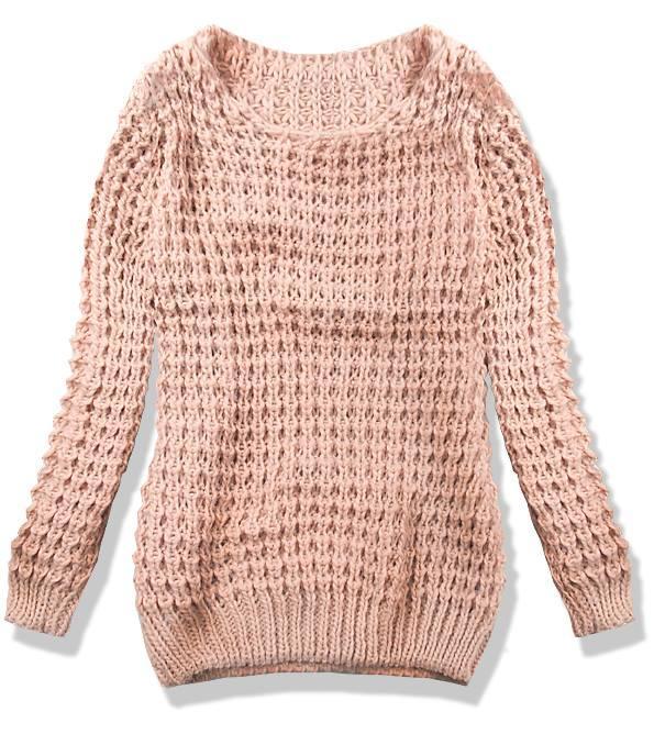 Růžový pletený svetr LANA
