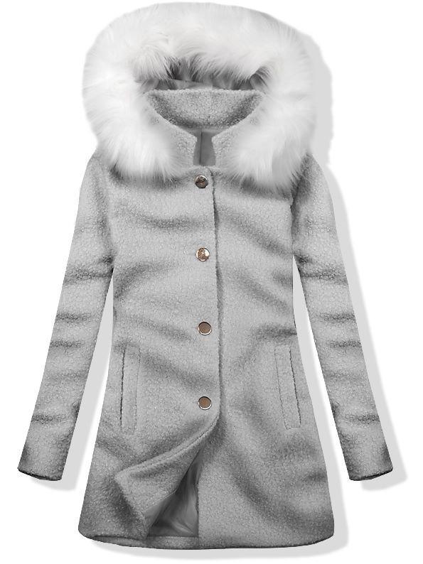 Vlněný podzimní kabát 1950 tmavě šedá/bílá
