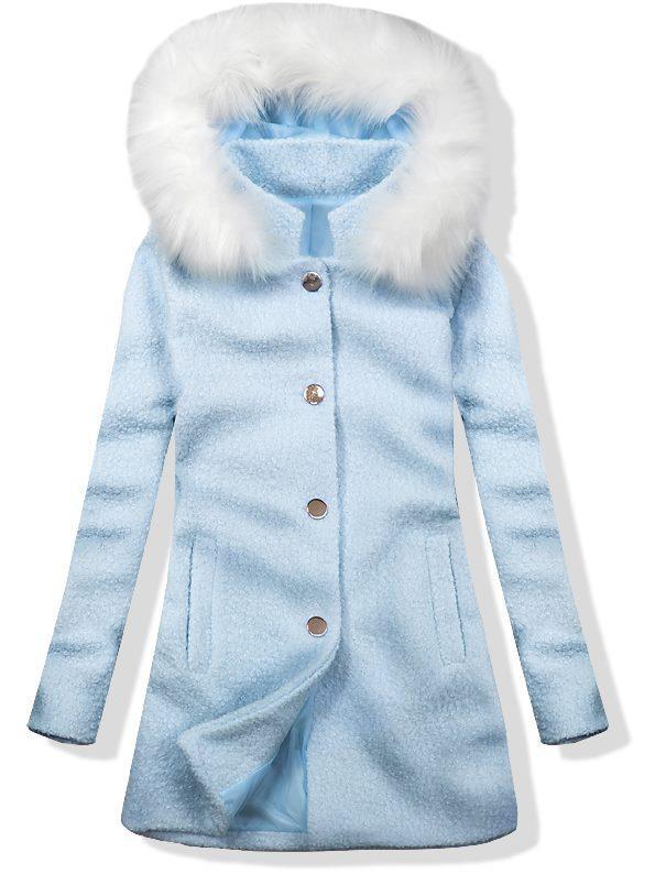 Vlněný podzimní kabát 1950 baby blue/bílá