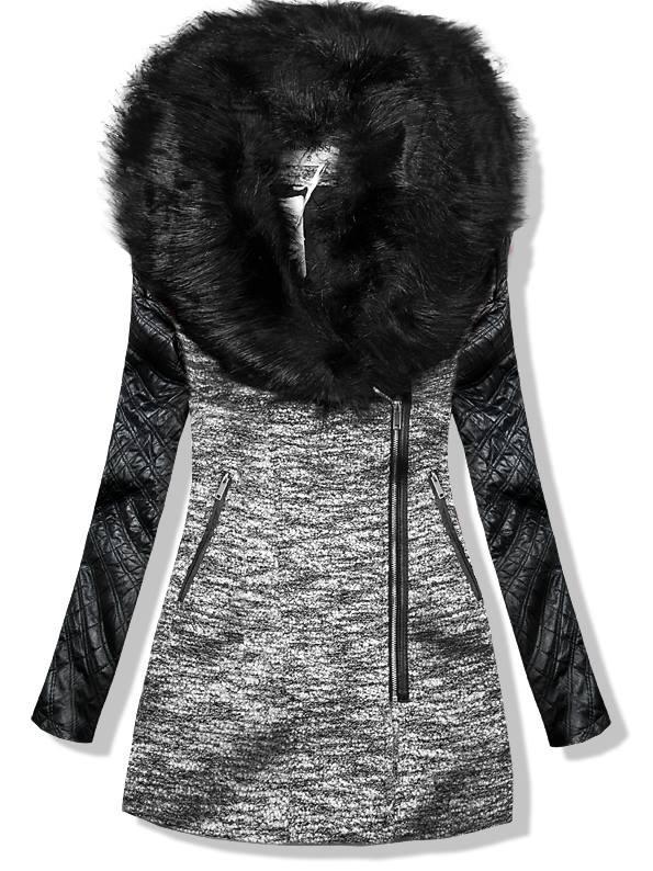 Šedý kabát s koženkovými rukávy