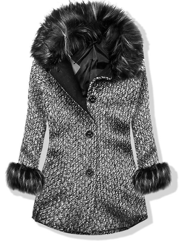 Šedý vlněný kabát na knoflíky