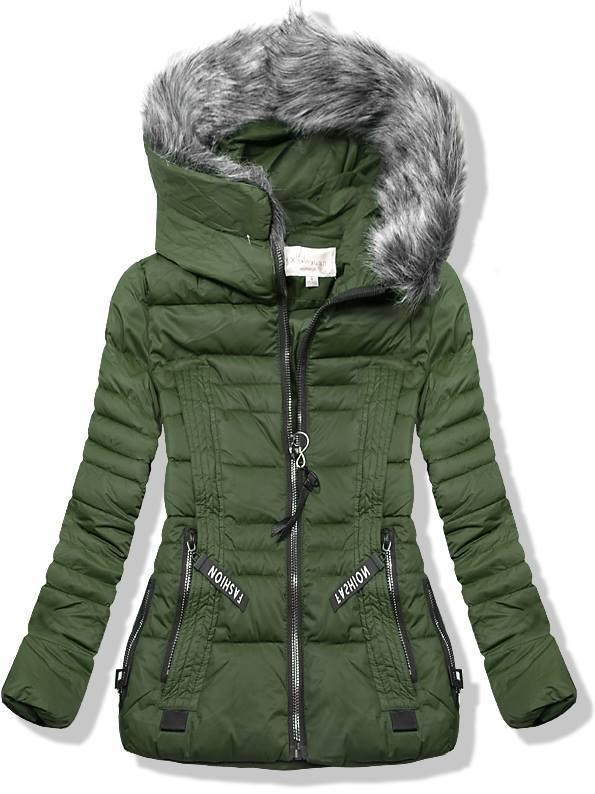 Zelená krátká zimní bunda