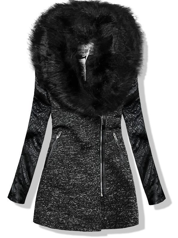 Černý kabát s koženkovými rukávy