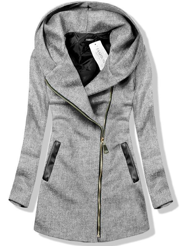 Šedý kabát s kapucí