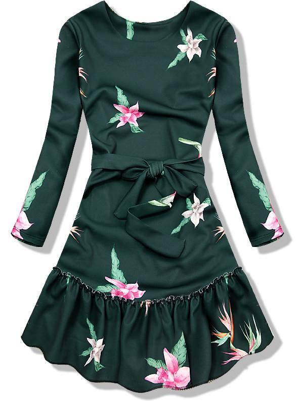 Zelené šaty s volánem
