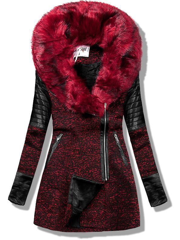 Bordový kabát s koženkovými aplikacemi