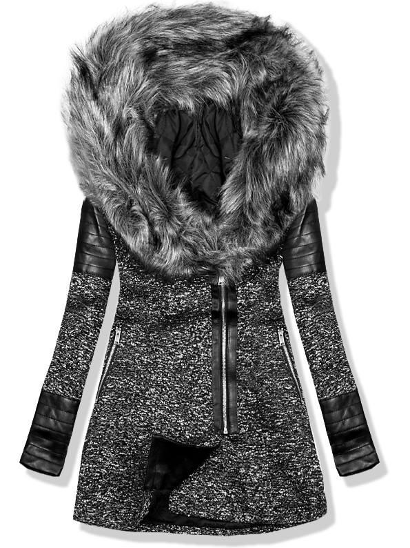 Černý kabát s koženkovými aplikacemi