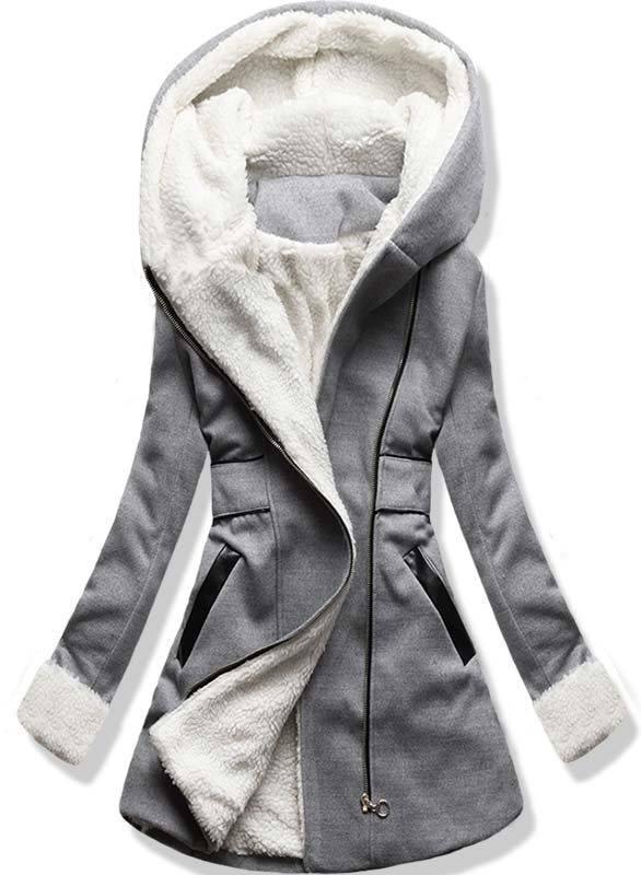 Šedý zimní kabát s kapucí