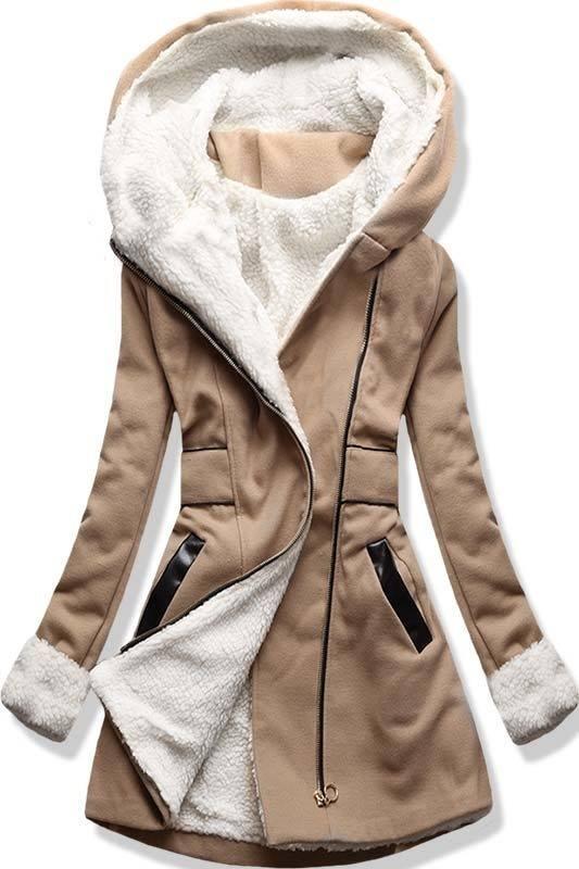 Camel zimní kabát s kapucí