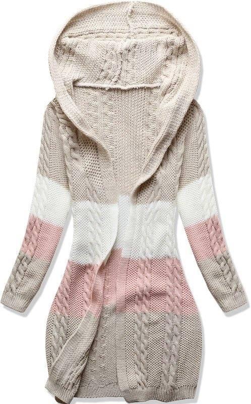c266a8cd05d Crsm bezovy pleteny svetr s kapuci m levně