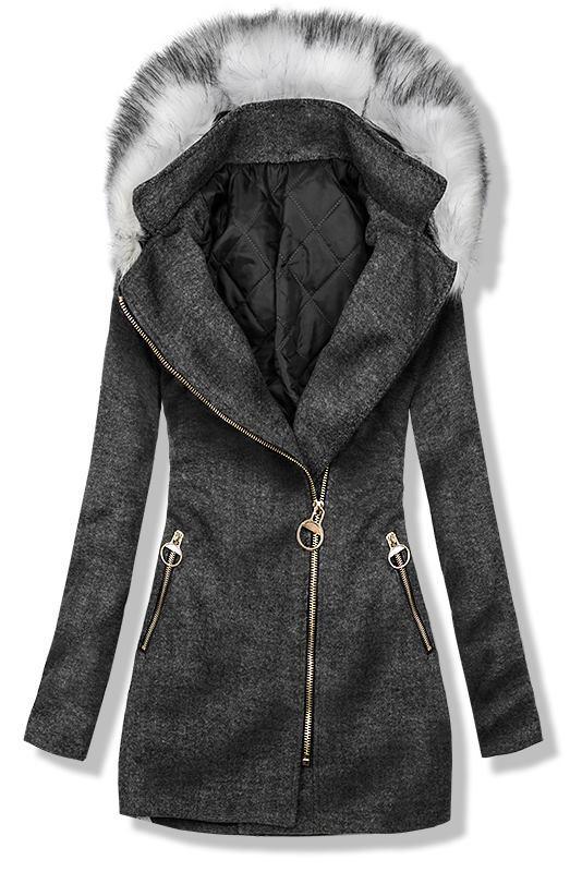 Grafitový kabát s kapucí