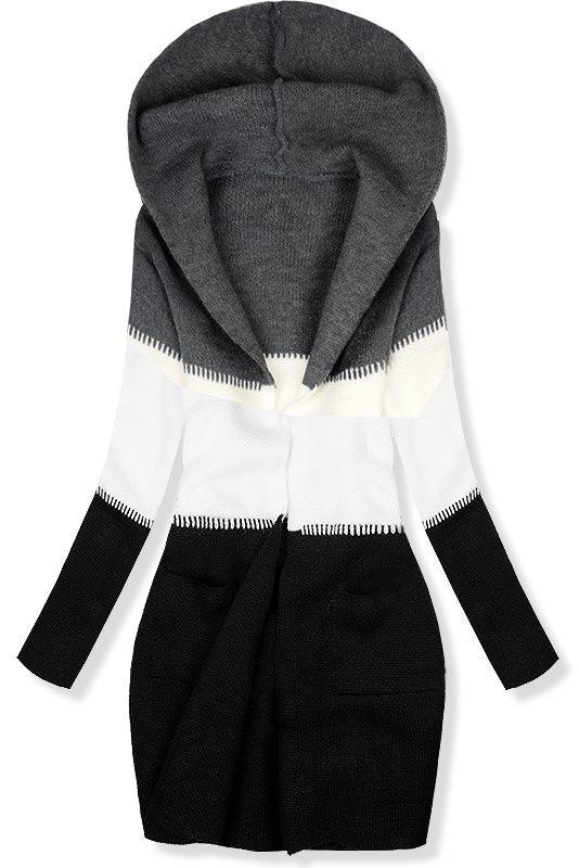 Pletený svetr s kapucí grafitová bílá černá f9028542cc