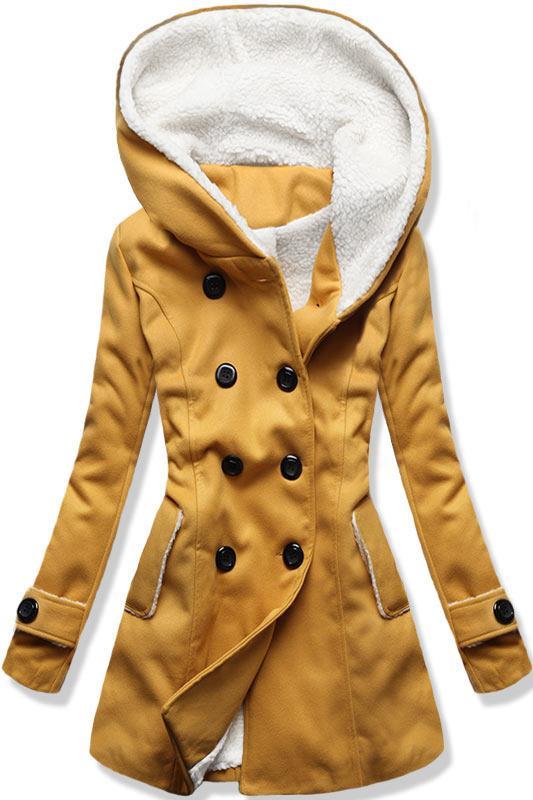 Mustard zimní kabát s kožíškem
