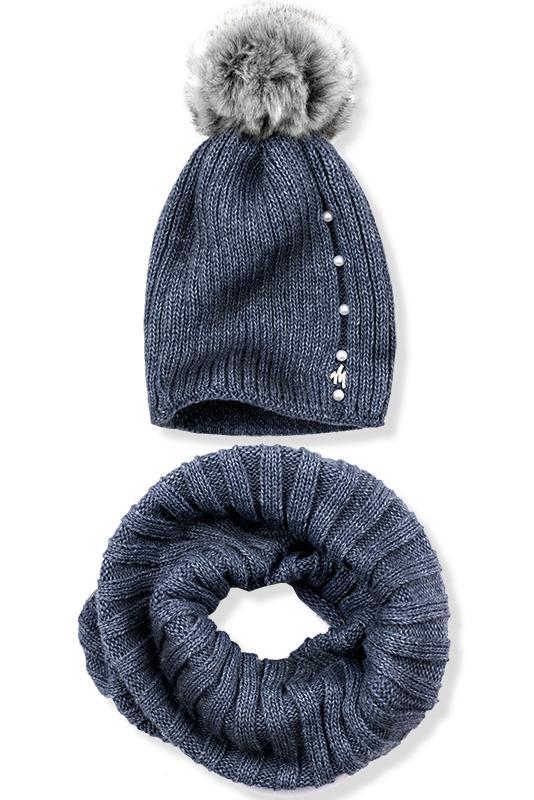 Jeans modrý zimní set čepice a šála c58eec7ca9
