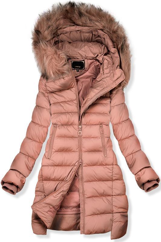 bfac1ebff6b6 Růžová prodloužená zimní bunda