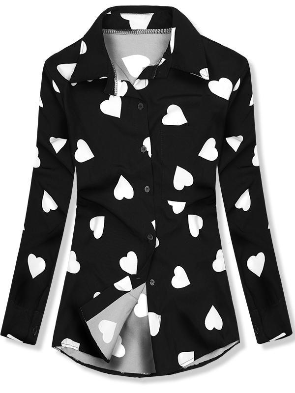 Košile se srdíčkovým motivem černá bíla df16033161