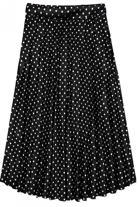 e80832408105 Černá skládaná midi sukně