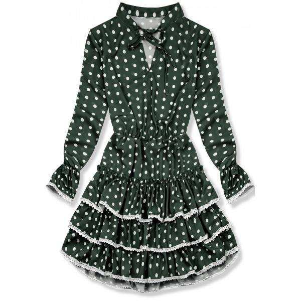 E-shop Zelené tečkované šaty s volány