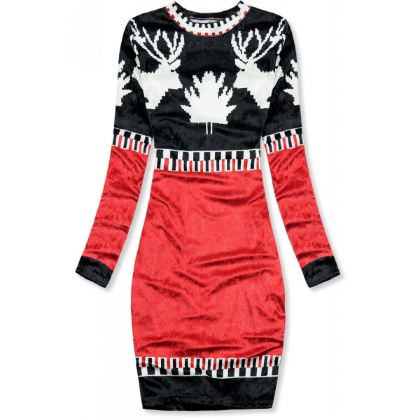 E-shop Modro/červené sametové vánoční šaty