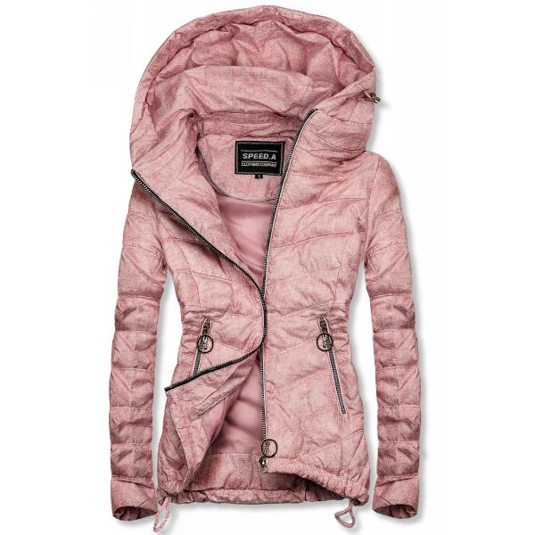 Růžová melírovaná jarní bunda