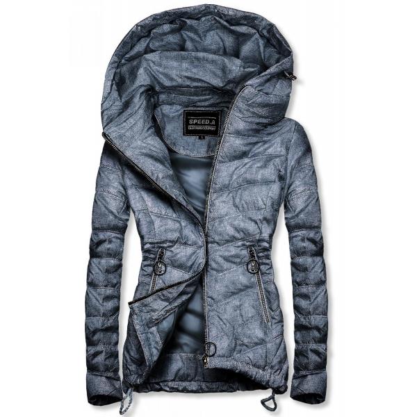 Tmavě modrá melírovaná jarní bunda