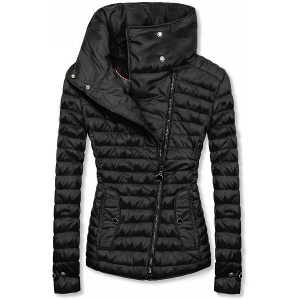 Černá prošívaná jarní bunda