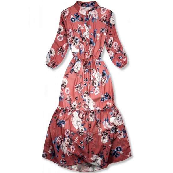 E-shop Květinové midi šaty cihlově červené