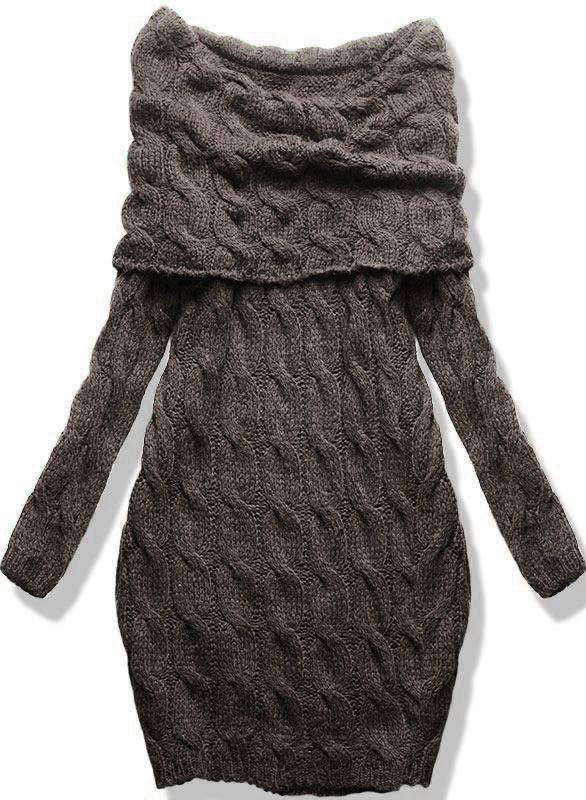 Hnědé pletené šaty s odhalenými rameny