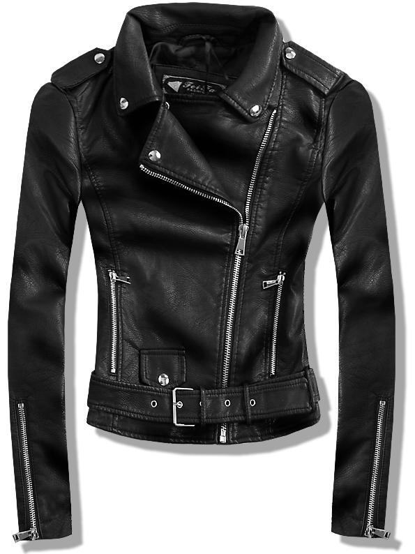 Černá koženková bunda 8877