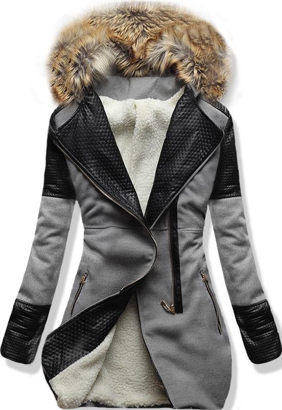 Šedý zimní kabát s kožíškem