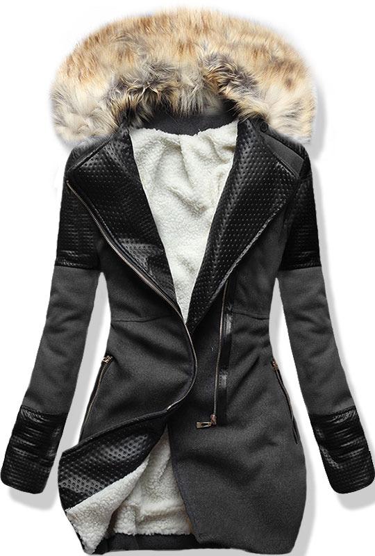 Grafitový zimní kabát s kožíškem