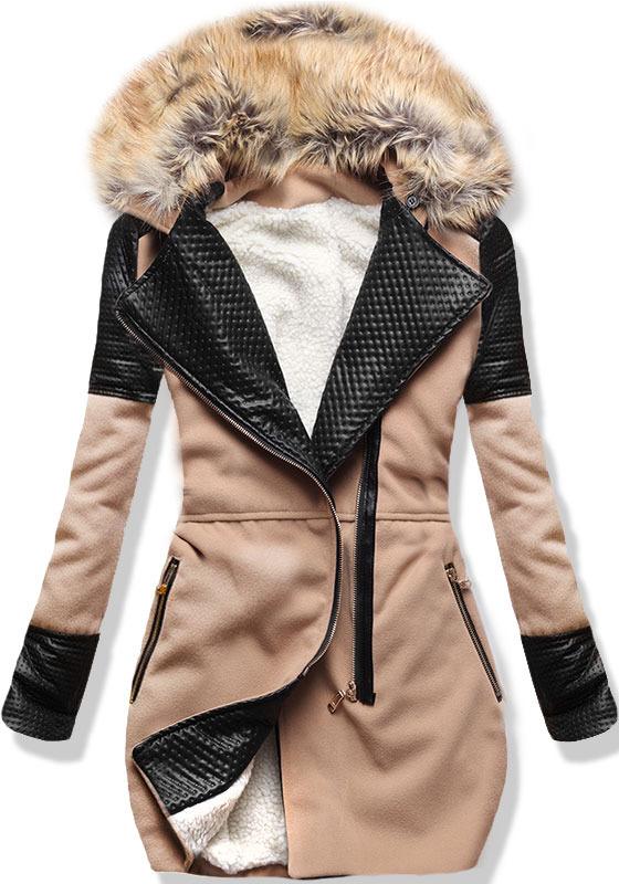 Camel zimní kabát s kožíškem