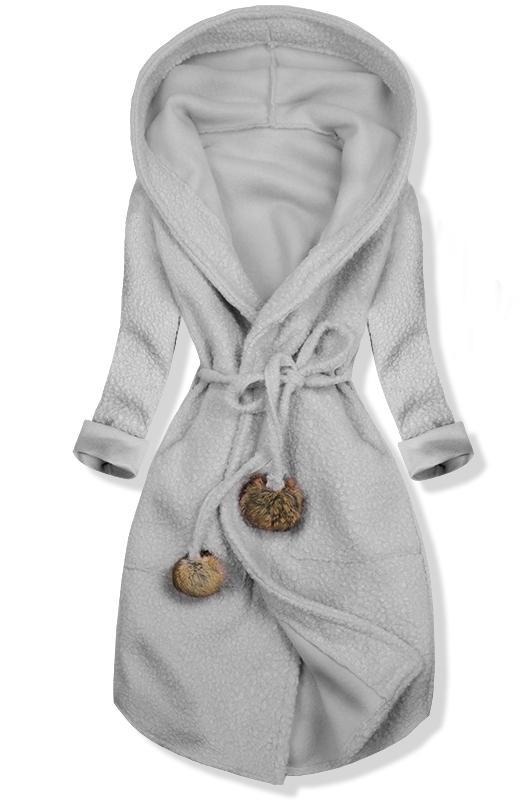 Šedý jarní kabát s kapucí