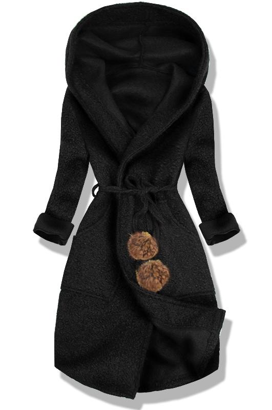 Černý jarní kabát s kapucí