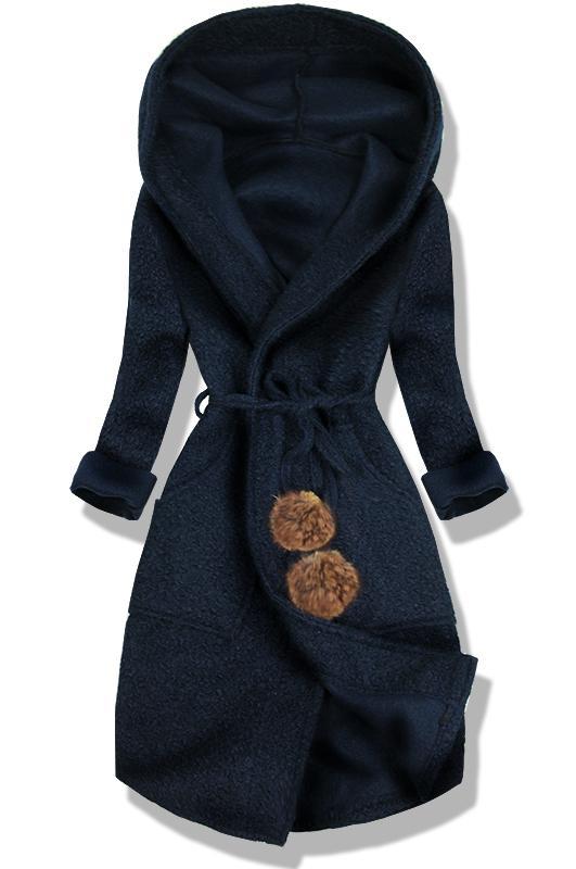 Tmavě modrý jarní kabát s kapucí